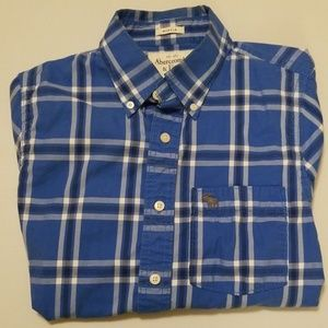 Abercrombie & Fitch Blue Black Plaid M Shirt Cottn
